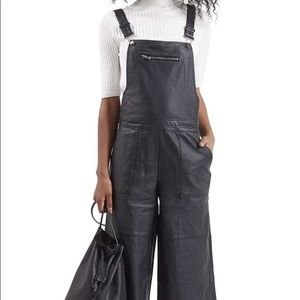 Topshop Faux Leather Black Overall Culottes Size 6